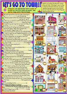 esl worksheets places in town 16001 lets go to town find the places matching the definitions esl worksheet of the day by