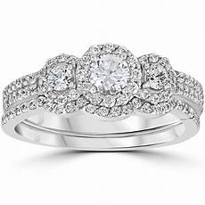 1 00ct 3 stone diamond engagement wedding ring 10k white gold ebay