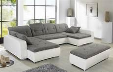sofa mit hocker wohnlandschaft mit hocker ferun 365x220 185cm hellgrau