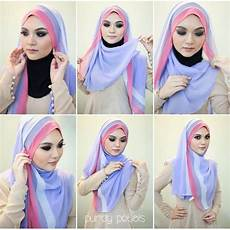 Jilbab Segi Empat Warna Orange Voal Motif
