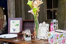 diy welcome table at the wedding reception
