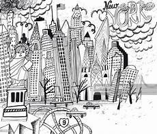 new york city line coloring page high res vector