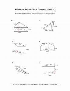 volume and surface area of triangular prisms a algebra and beyond geometry worksheets
