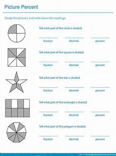 fraction worksheets shaded unshaded 4095 write the shaded area in fractions decimals and percentages percents math printable