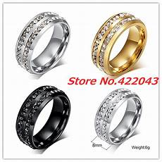 new fashion creal crystal rings for mens stainless steel rhinestone wedding ring usa size