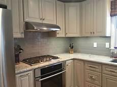 Backsplash For Kitchen With White Cabinet Smoke Glass Subway Tile Backsplash For White Cabinets