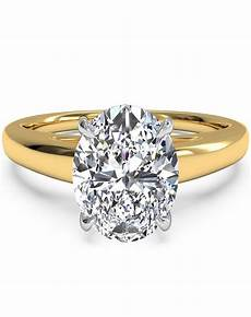 ritani solitaire diamond cathedral engagement ring in 18kt yellow gold for a oval center stone