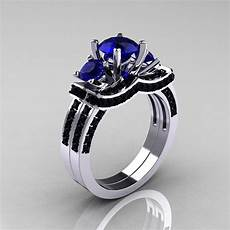 14k white gold three stone blue sapphire black diamond wedding ring engagement ring