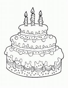 printable cake happy birthday coloring pages free