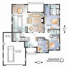 1st level u shape ranch house plan 2 car garage master