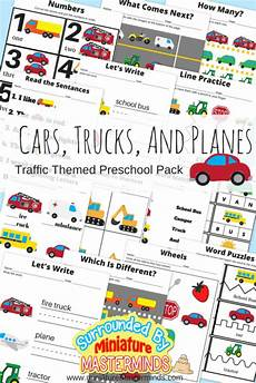 vehicles worksheets kindergarten 15164 cars trucks and planes traffic themed preschool printable basic concepts book miniature