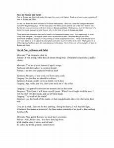 romeo juliet language worksheet appreciating puns