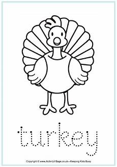 T Is For Thanksgiving Coloring Pages Turkey Tracing Page Worksheet For Children