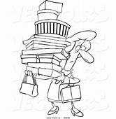 Vector Of A Cartoon Shopping Woman Carrying Packages