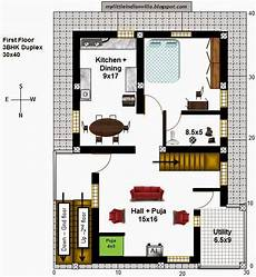 north facing duplex house plans my little indian villa 40 r33 1bhk and 3bhk in 30x40