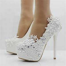 Wedding White Pumps heels fashion white lace flower rhinestone pumps