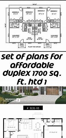 affordable house plan with over 1700 living sq set of plans for affordable duplex 1700 sq ft htd