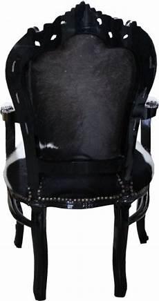 stuhl mit fell casa padrino barock esszimmer stuhl kuhfell schwarz mit