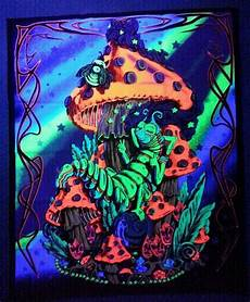 mushrooms and caterpillar blacklight uv reactive tapestry fabric poster 23 quot 28 quot black