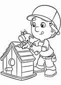 Handy Manny Making Bird House Coloring Page