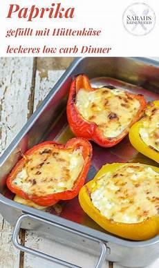 gefüllte paprika im backofen low carb dinner gef 252 llte paprika mit h 252 ttenk 228 se zu