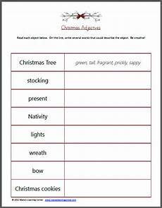free christmas adjectives worksheet