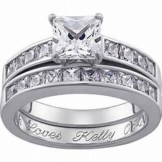 personalized square cz two piece engraved wedding ring