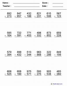 2 3 or 4 digits subtraction worksheets miss bodnar