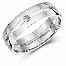 his hers 5 6mm 9ct white gold diamond wedding rings