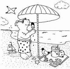 ausmalbild urlaub und reisen b 228 r isst eis am strand