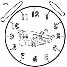 kostenlose malvorlage uhrzeit lernen ausmalbild flugzeug
