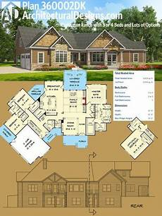 craftsman ranch house plans plan 360002dk craftsman ranch with 3 or 4 beds and lots