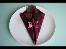 Servietten Falten Spitze Bestecktasche Napkin Folding