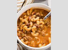 hamburger  macaroni  and bean soup_image