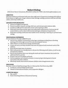 nanny resume templates şam