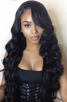 sew in weave hair styles for black with closure wavy human hair in 2019