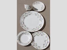 1940s vintage china dishes, Blue Belle forget me not