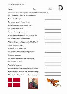 social studies alpha worksheet d