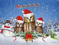 merry christmas from owl of us digital art by glenn holbrook