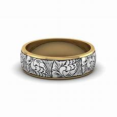 engraved two tone wedding band in 14k yellow gold fascinating diamonds