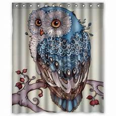 Owl Fabric Shower Curtain hellodecor owl shower curtain polyester fabric bathroom