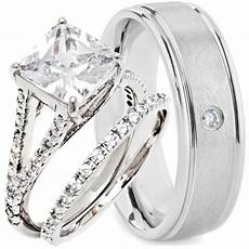 3 pcs his and hers wedding rings engagement cz 925 sterling silver titanium ebay
