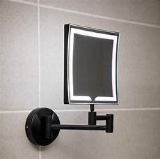 square wall mounted led make up mirror in black plumbworkz