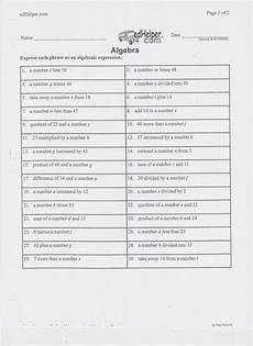 worksheet translate algebraic expressions grass fedjp worksheet study site