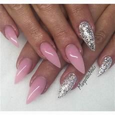 Gelnägel Bilder 2017 - pink and silver stiletto nails margaritasnailz in