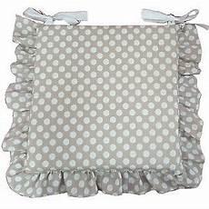 cuscini x cuscino copri sedia beige pois bianco con volant