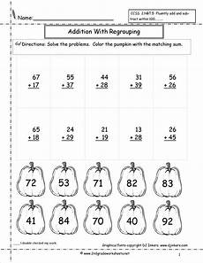 beginning addition with regrouping worksheets 9694 digit addition coloring worksheets two digit addition with regrouping students solve