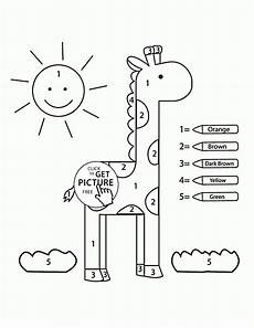 color by number simple giraffe coloring page for