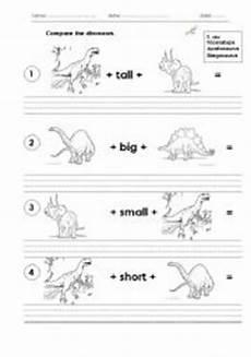 dinosaur grammar worksheets 15313 compare the dinosaurs esl worksheet by dedicatedteacher