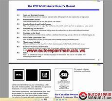 car owners manuals free downloads 2001 gmc sierra 3500 user handbook gmc truck sierra 1999 owner s manual auto repair manual forum heavy equipment forums